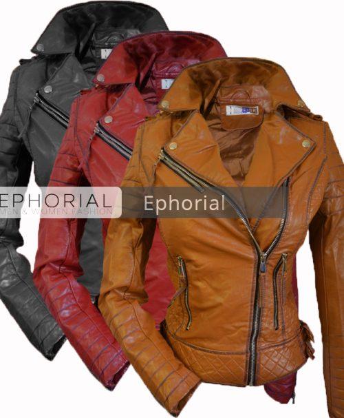 Дамско кожено яке  - P1038 - Leks.bg