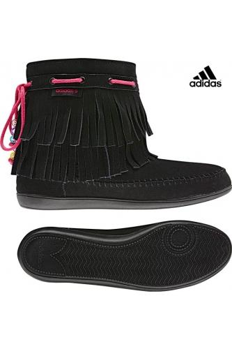 Adidas Neo Qt Frills - дамски ботуши от естествен велур - черно - Leks.bg
