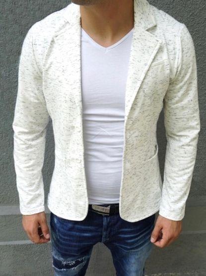 Мъжко елегантно памучно сако - бяло