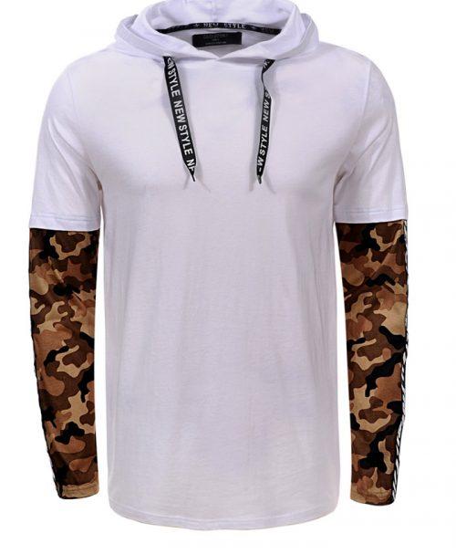 Мъжка тениска с дълъг ръкав X2203 Бял - Leks.bg