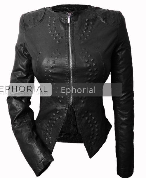 Дамско кожено яке  - P1039 - Leks.bg